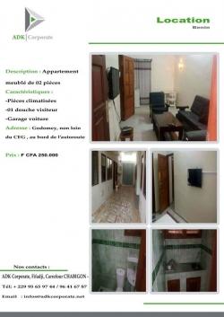 Appartement meublé 2 Pièces à Godomey