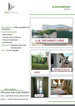 Villa meublée à 400 000 FCFA / MOIS