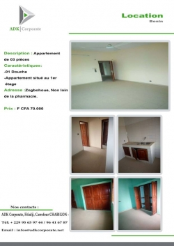 Appartement de 3 pièce à Zogbohouè